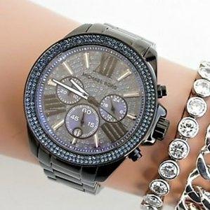 new Michael Kors crystal Gunmetal Chrono watch